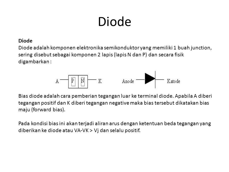 Diode Diode adalah komponen elektronika semikonduktor yang memiliki 1 buah junction, sering disebut sebagai komponen 2 lapis (lapis N dan P) dan secara fisik digambarkan : Bias diode adalah cara pemberian tegangan luar ke terminal diode.