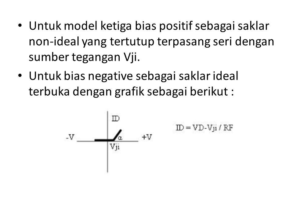 Untuk model ketiga bias positif sebagai saklar non-ideal yang tertutup terpasang seri dengan sumber tegangan Vji. Untuk bias negative sebagai saklar i