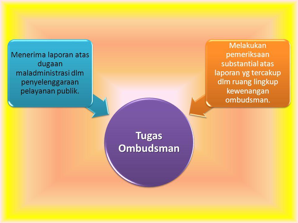 Tugas Ombudsman Menerima laporan atas dugaan maladministrasi dlm penyelenggaraan pelayanan publik. Melakukan pemeriksaan substantial atas laporan yg t