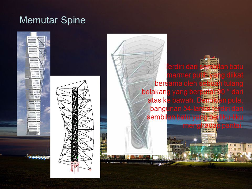 Memutar Spine Terdiri dari sembilan batu marmer putih yang diikat bersama oleh sebuah tulang belakang yang berputar 90 ° dari atas ke bawah. Demikian
