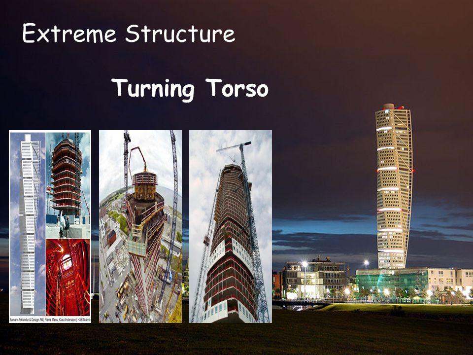 TURNING TORSO Turning Torso adalah gedung pencakar langit di Swedia, terdiri dari sembilan batu memutar menghadap ke arah pantai.