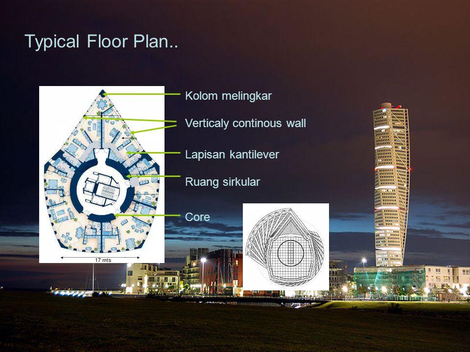 Kolom melingkar Verticaly continous wall Lapisan kantilever Ruang sirkular Core Typical Floor Plan..
