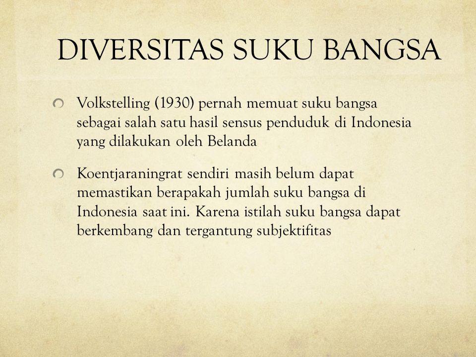 DIVERSITAS SUKU BANGSA Volkstelling (1930) pernah memuat suku bangsa sebagai salah satu hasil sensus penduduk di Indonesia yang dilakukan oleh Belanda