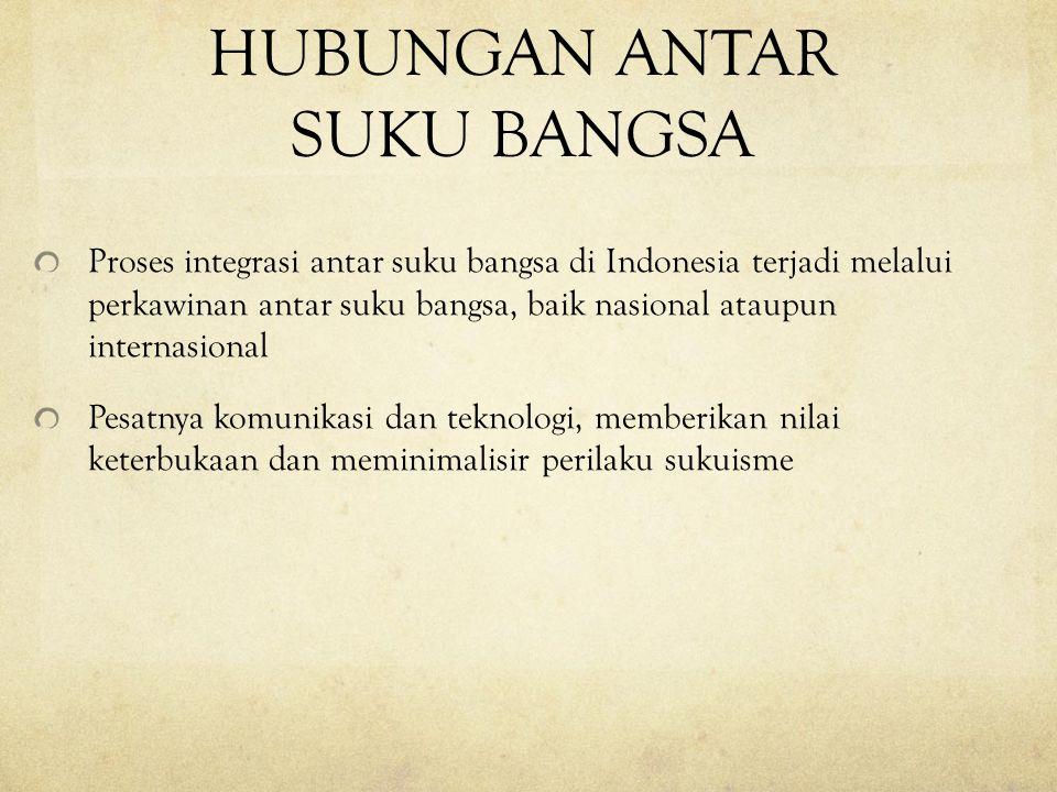 HUBUNGAN ANTAR SUKU BANGSA Proses integrasi antar suku bangsa di Indonesia terjadi melalui perkawinan antar suku bangsa, baik nasional ataupun interna
