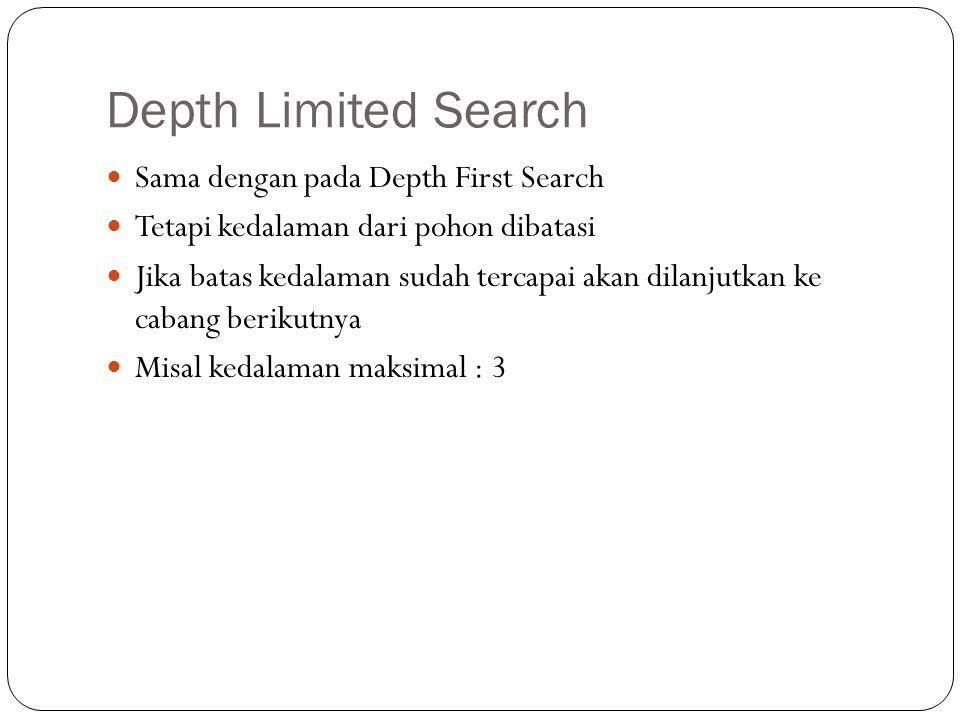 Depth Limited Search Sama dengan pada Depth First Search Tetapi kedalaman dari pohon dibatasi Jika batas kedalaman sudah tercapai akan dilanjutkan ke