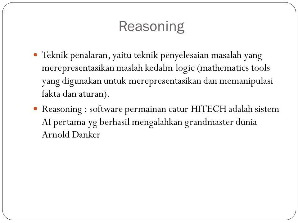 Reasoning Teknik penalaran, yaitu teknik penyelesaian masalah yang merepresentasikan maslah kedalm logic (mathematics tools yang digunakan untuk merep