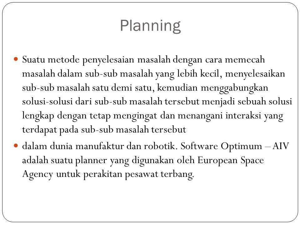 Planning Suatu metode penyelesaian masalah dengan cara memecah masalah dalam sub-sub masalah yang lebih kecil, menyelesaikan sub-sub masalah satu demi