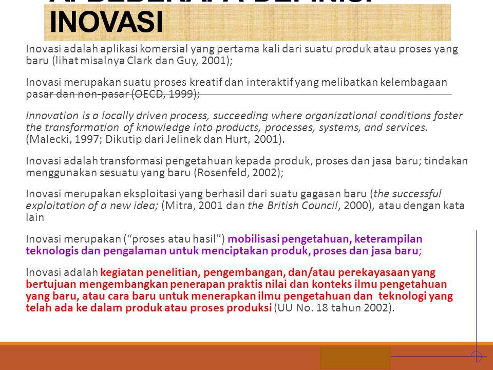 STIE MDP A. BEBERAPA DEFINISI INOVASI Inovasi adalah aplikasi komersial yang pertama kali dari suatu produk atau proses yang baru (lihat misalnya Clar