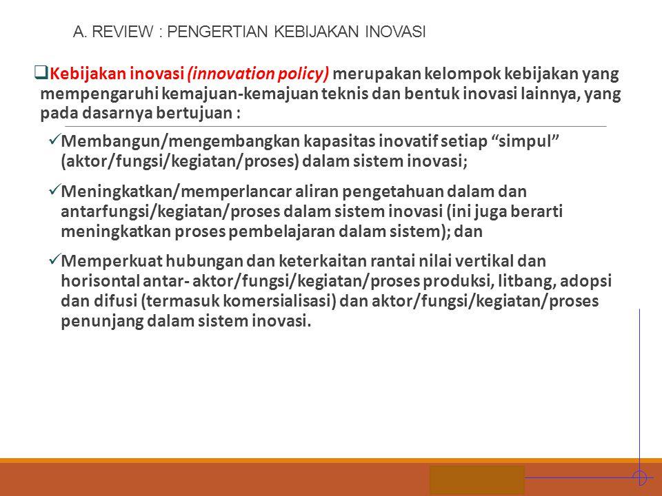 STIE MDP A. REVIEW : PENGERTIAN KEBIJAKAN INOVASI  Kebijakan inovasi (innovation policy) merupakan kelompok kebijakan yang mempengaruhi kemajuan-kema