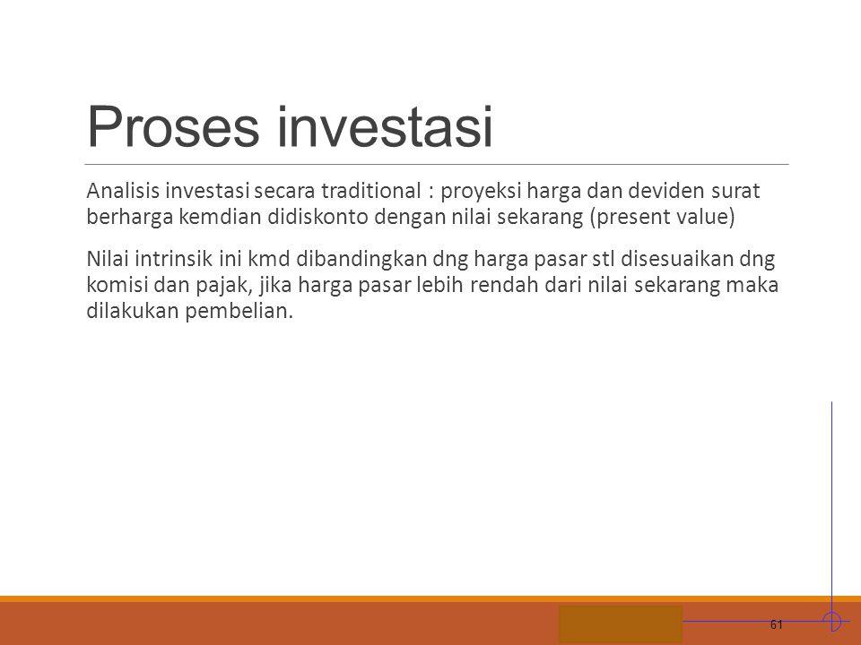 STIE MDP Proses investasi Analisis investasi secara traditional : proyeksi harga dan deviden surat berharga kemdian didiskonto dengan nilai sekarang (