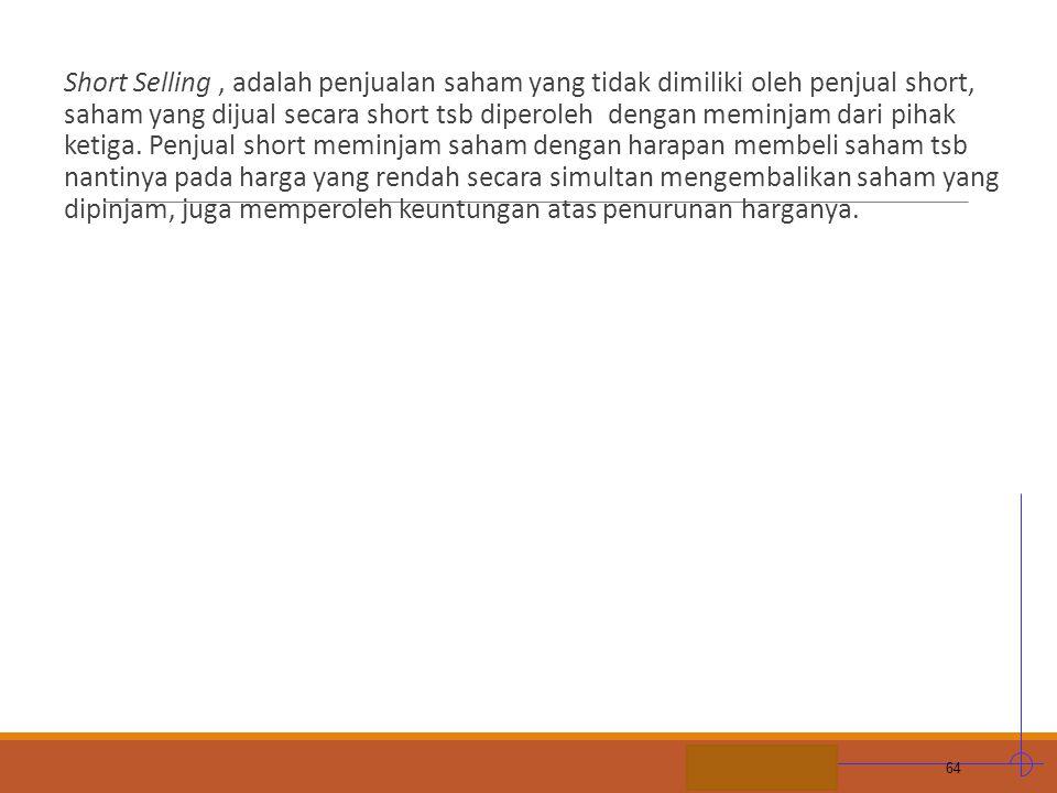 STIE MDP Short Selling, adalah penjualan saham yang tidak dimiliki oleh penjual short, saham yang dijual secara short tsb diperoleh dengan meminjam da