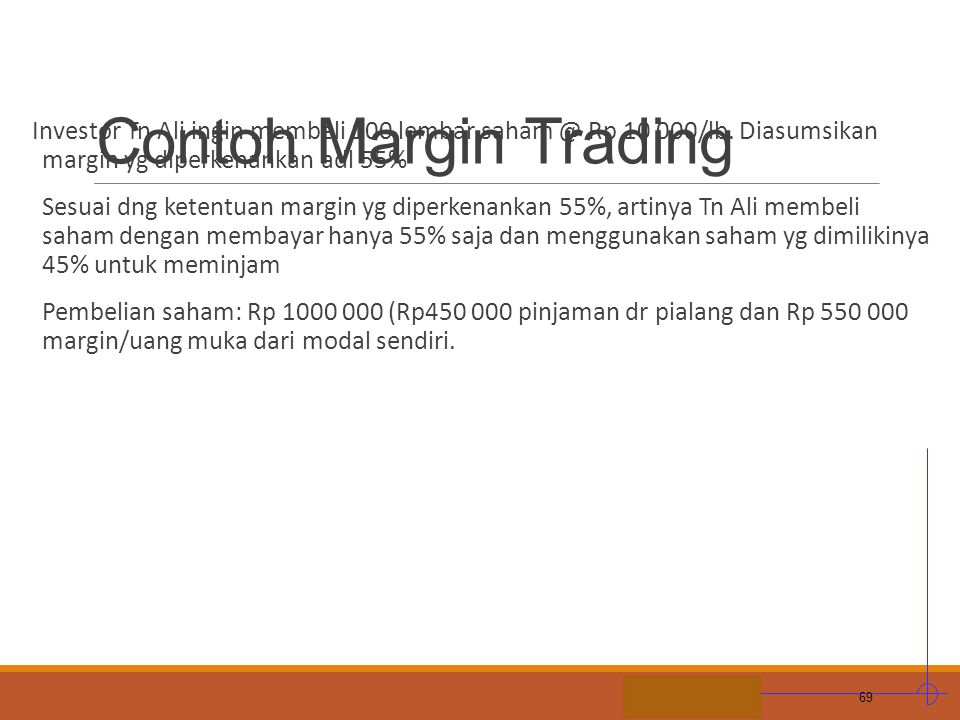 STIE MDP Contoh Margin Trading Investor Tn Ali ingin membeli 100 lembar saham @ Rp 10 000/lb. Diasumsikan margin yg diperkenankan adl 55% Sesuai dng k