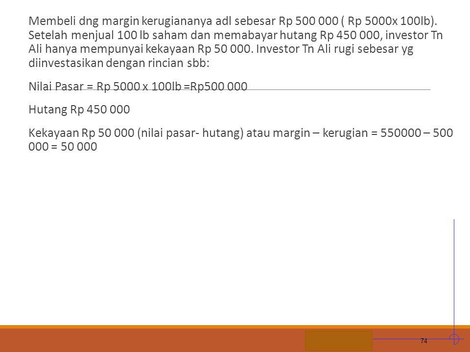 STIE MDP Membeli dng margin kerugiananya adl sebesar Rp 500 000 ( Rp 5000x 100lb). Setelah menjual 100 lb saham dan memabayar hutang Rp 450 000, inves