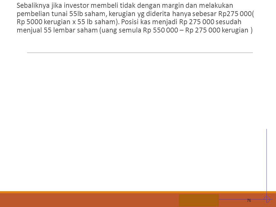 STIE MDP Sebaliknya jika investor membeli tidak dengan margin dan melakukan pembelian tunai 55lb saham, kerugian yg diderita hanya sebesar Rp275 000(