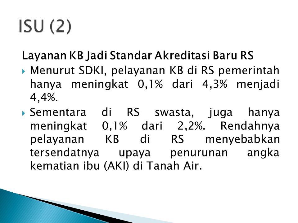 Layanan KB Jadi Standar Akreditasi Baru RS  Menurut SDKI, pelayanan KB di RS pemerintah hanya meningkat 0,1% dari 4,3% menjadi 4,4%.  Sementara di R