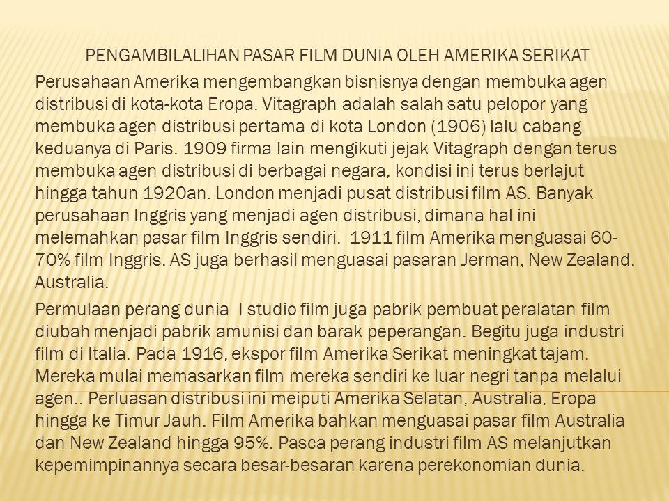 PENGAMBILALIHAN PASAR FILM DUNIA OLEH AMERIKA SERIKAT Perusahaan Amerika mengembangkan bisnisnya dengan membuka agen distribusi di kota-kota Eropa.