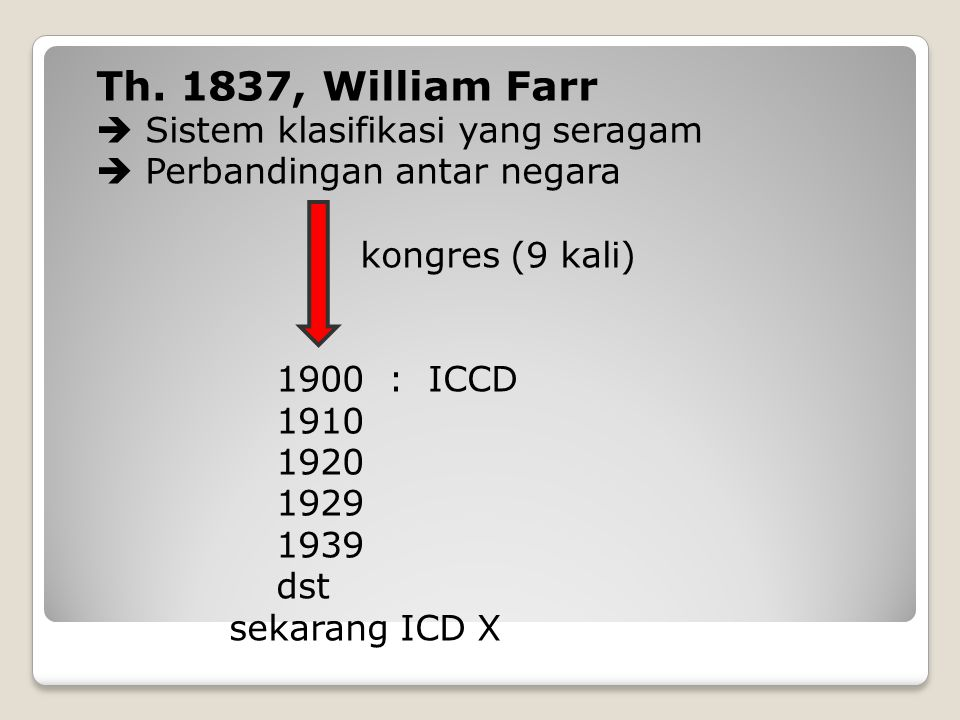 ICCD : International Classification of Cause of Death ICD IX : International Statistical Classification of Diseases, Injuries and Cause of Deaths ICD X : International Statistical Classification of Diseases and Related Health Problems