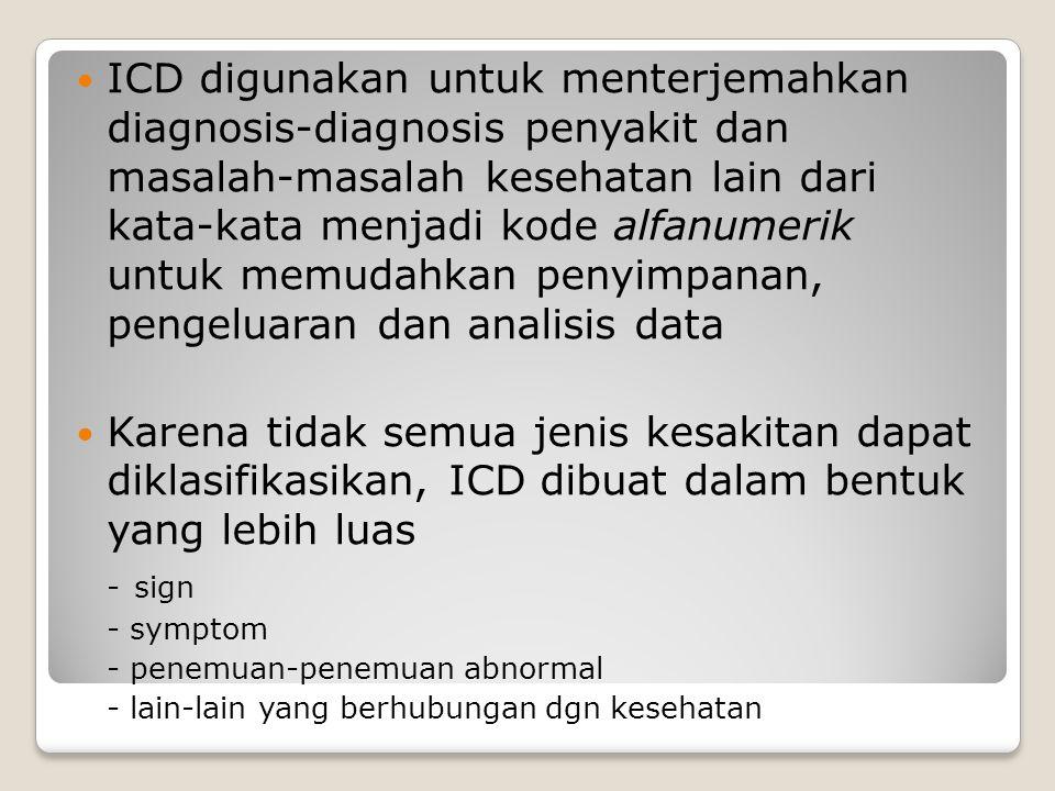 ICD digunakan untuk menterjemahkan diagnosis-diagnosis penyakit dan masalah-masalah kesehatan lain dari kata-kata menjadi kode alfanumerik untuk memudahkan penyimpanan, pengeluaran dan analisis data Karena tidak semua jenis kesakitan dapat diklasifikasikan, ICD dibuat dalam bentuk yang lebih luas - sign - symptom - penemuan-penemuan abnormal - lain-lain yang berhubungan dgn kesehatan