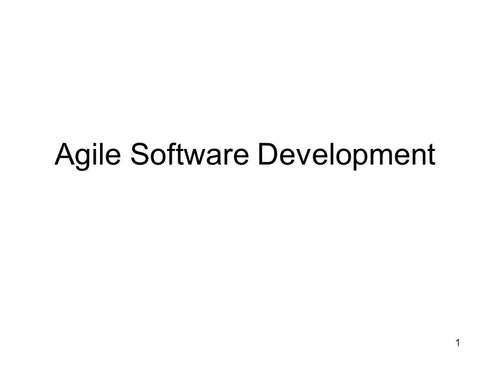 1 Agile Software Development