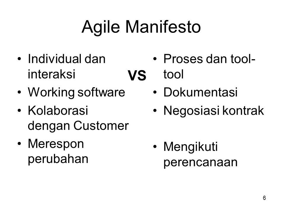 6 Agile Manifesto Individual dan interaksi Working software Kolaborasi dengan Customer Merespon perubahan Proses dan tool- tool Dokumentasi Negosiasi