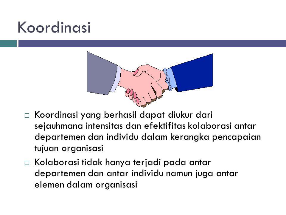 Koordinasi  Koordinasi yang berhasil dapat diukur dari sejauhmana intensitas dan efektifitas kolaborasi antar departemen dan individu dalam kerangka