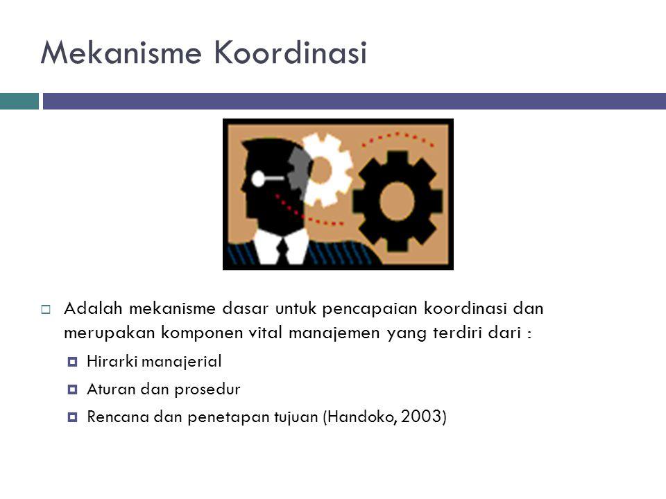 Mekanisme Koordinasi  Adalah mekanisme dasar untuk pencapaian koordinasi dan merupakan komponen vital manajemen yang terdiri dari :  Hirarki manajer