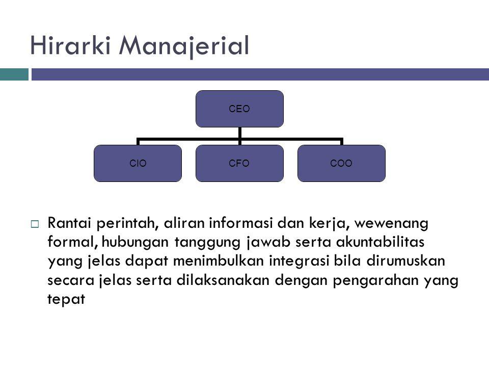 Hirarki Manajerial  Rantai perintah, aliran informasi dan kerja, wewenang formal, hubungan tanggung jawab serta akuntabilitas yang jelas dapat menimb