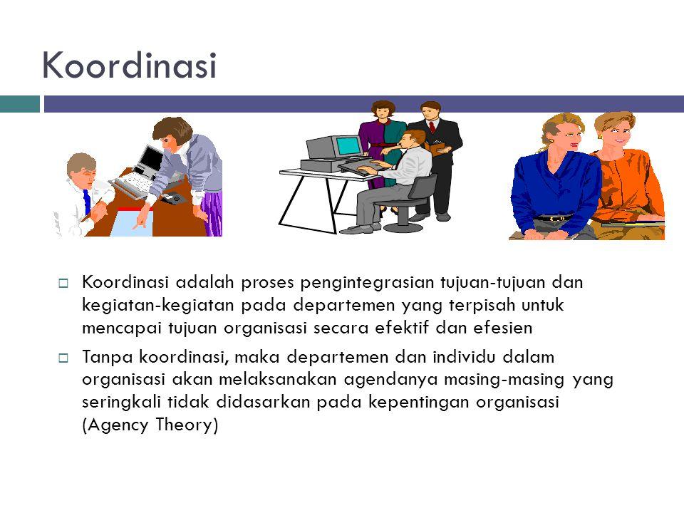Koordinasi  Koordinasi adalah proses pengintegrasian tujuan-tujuan dan kegiatan-kegiatan pada departemen yang terpisah untuk mencapai tujuan organisa