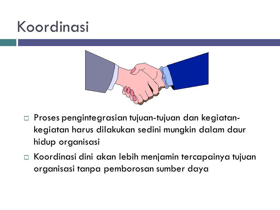 Koordinasi  Proses pengintegrasian tujuan-tujuan dan kegiatan- kegiatan harus dilakukan sedini mungkin dalam daur hidup organisasi  Koordinasi dini