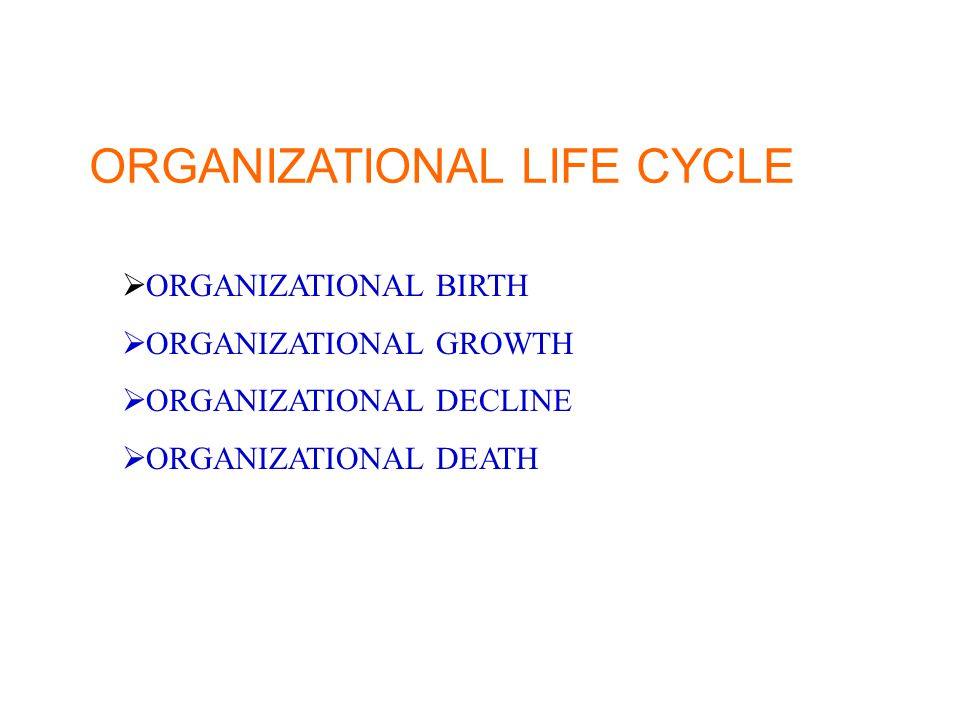 ORGANIZATIONAL LIFE CYCLE  ORGANIZATIONAL BIRTH  ORGANIZATIONAL GROWTH  ORGANIZATIONAL DECLINE  ORGANIZATIONAL DEATH