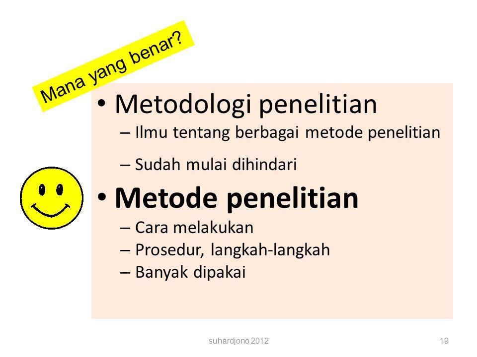 suhardjono 201219 INNA WAHYUNINGSIH, S. Pd. Metodologi penelitian – Ilmu tentang berbagai metode penelitian – Sudah mulai dihindari Metode penelitian