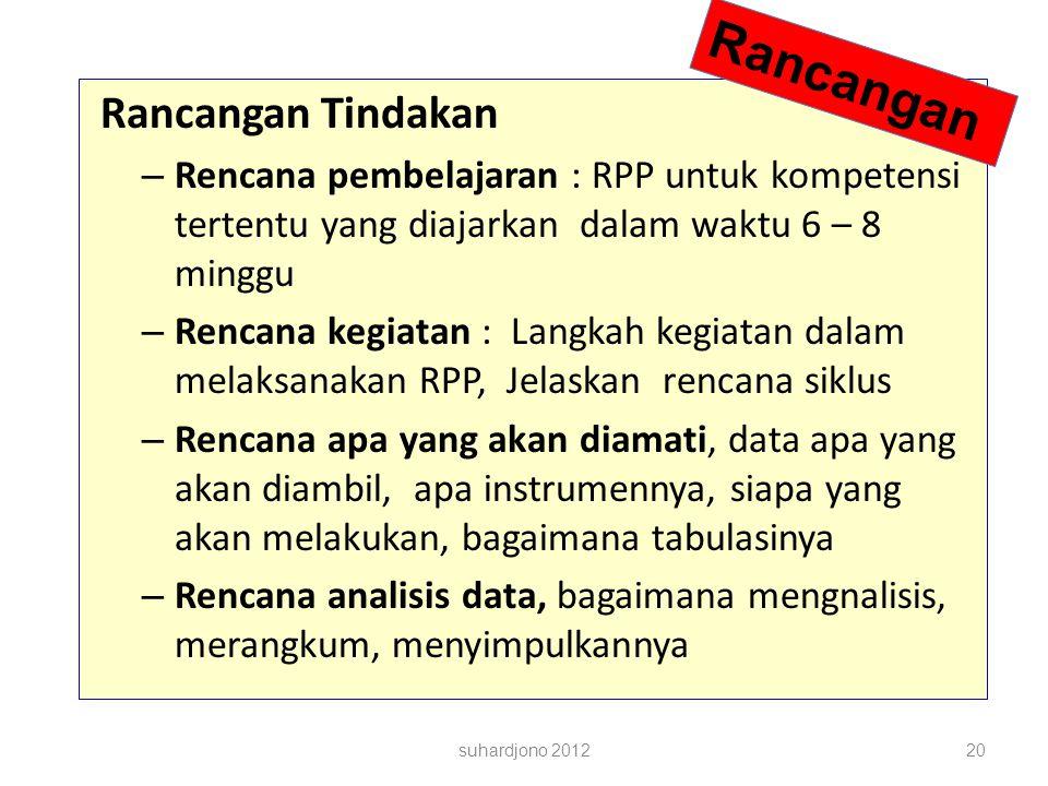 suhardjono 201220 Rancangan Tindakan – Rencana pembelajaran : RPP untuk kompetensi tertentu yang diajarkan dalam waktu 6 – 8 minggu – Rencana kegiatan