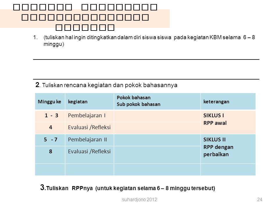 Latihan Rancangan Pembelajarannya SILABUS suhardjono 201224 1.(tuliskan hal ingin ditingkatkan dalam diri siswa siswa pada kegiatan KBM selama 6 – 8 m