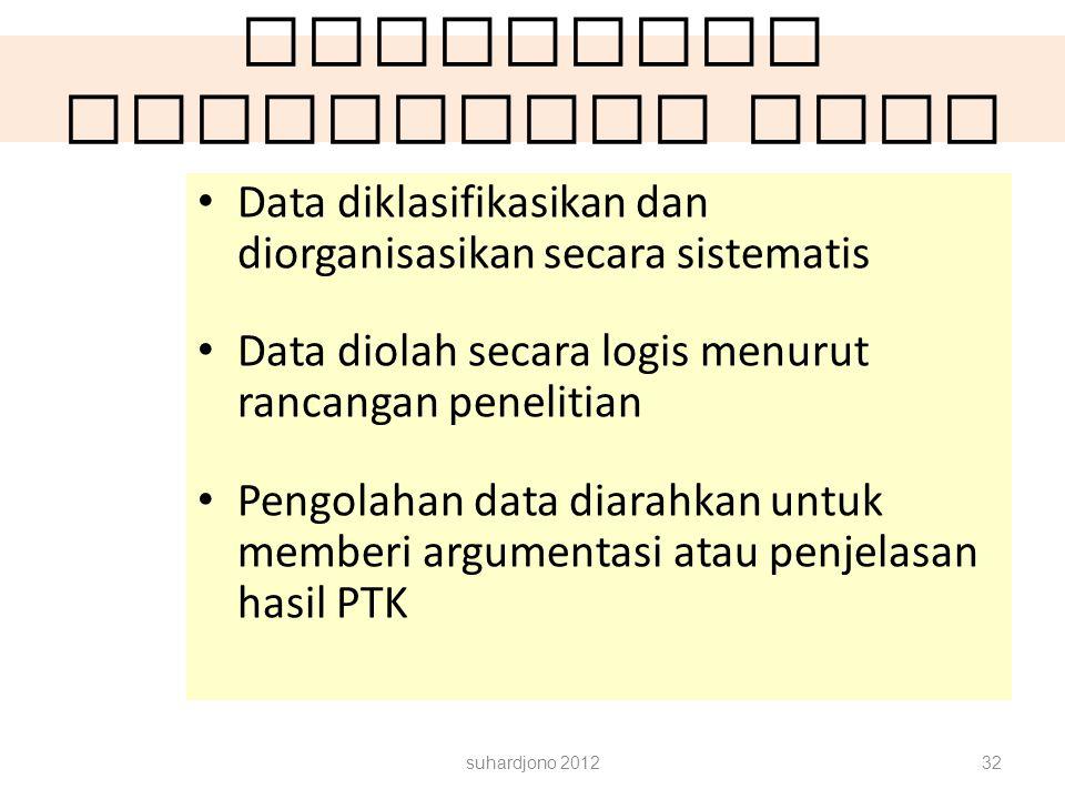 Rancangan Pengolahan data Data diklasifikasikan dan diorganisasikan secara sistematis Data diolah secara logis menurut rancangan penelitian Pengolahan