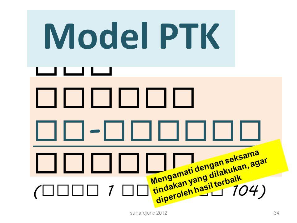 PTK adalah in - reijen Metode ( Buku 1 halaman 104) Model PTK suhardjono 201234 Mengamati dengan seksama tindakan yang dilakukan, agar diperoleh hasil