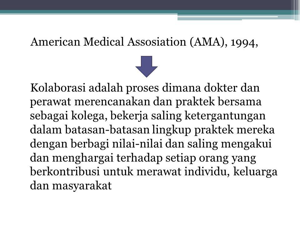 American Medical Assosiation (AMA), 1994, Kolaborasi adalah proses dimana dokter dan perawat merencanakan dan praktek bersama sebagai kolega, bekerja