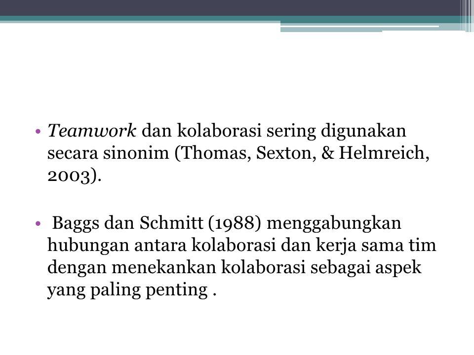 Teamwork dan kolaborasi sering digunakan secara sinonim (Thomas, Sexton, & Helmreich, 2003). Baggs dan Schmitt (1988) menggabungkan hubungan antara ko
