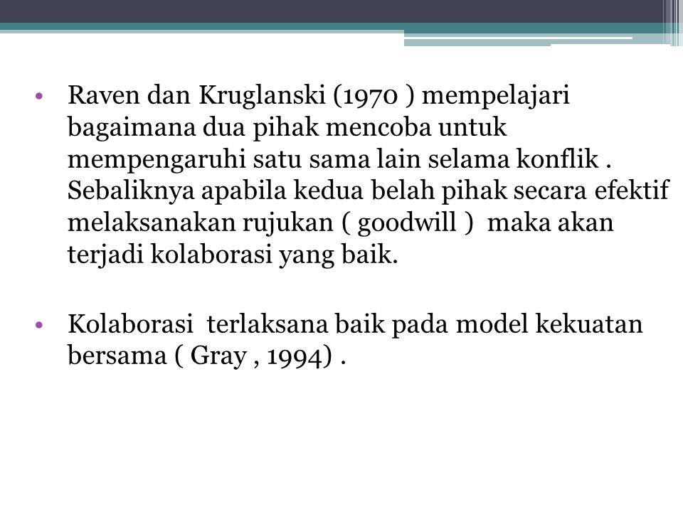 Raven dan Kruglanski (1970 ) mempelajari bagaimana dua pihak mencoba untuk mempengaruhi satu sama lain selama konflik. Sebaliknya apabila kedua belah