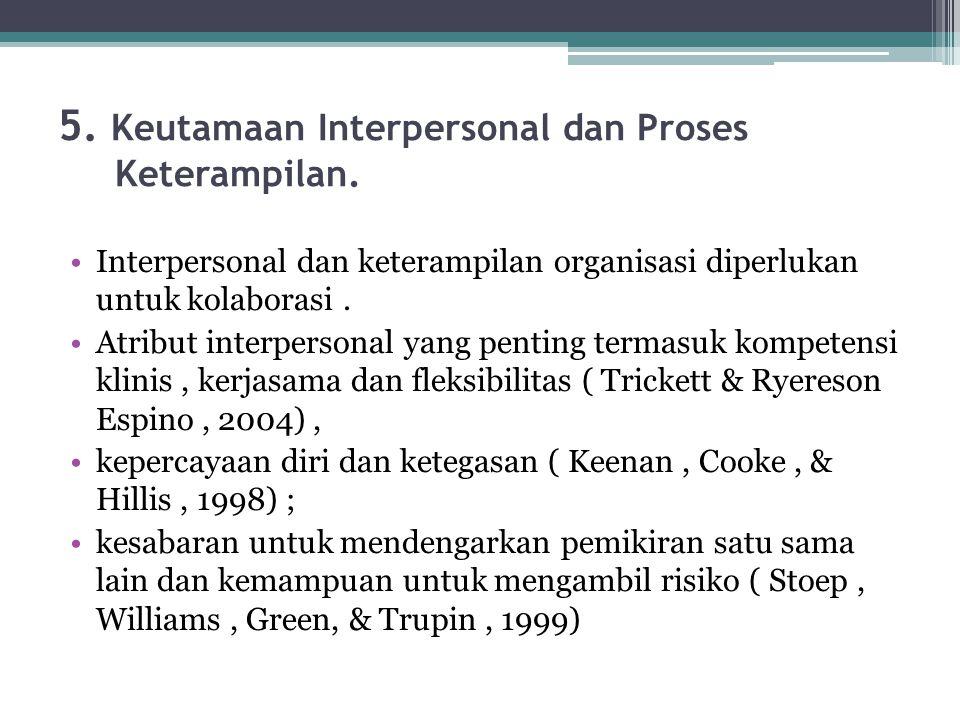 5. Keutamaan Interpersonal dan Proses Keterampilan. Interpersonal dan keterampilan organisasi diperlukan untuk kolaborasi. Atribut interpersonal yang