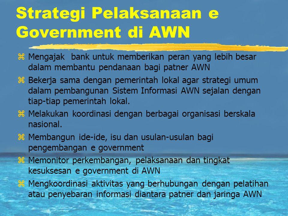 Strategi Pelaksanaan e Government di AWN zMengajak bank untuk memberikan peran yang lebih besar dalam membantu pendanaan bagi patner AWN zBekerja sama