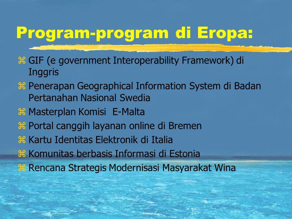 Program-program di Eropa: zGIF (e government Interoperability Framework) di Inggris zPenerapan Geographical Information System di Badan Pertanahan Nas
