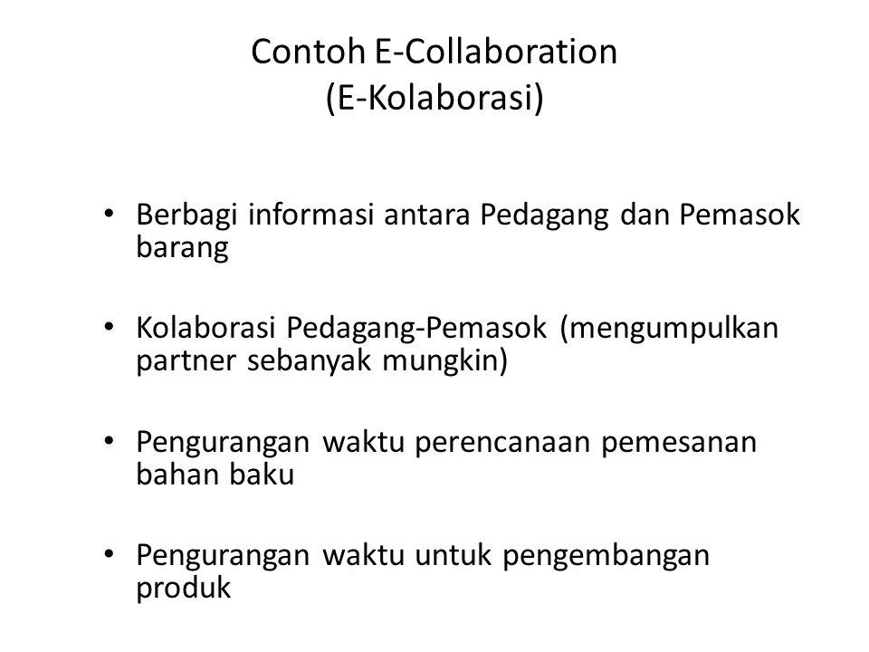 Contoh E-Collaboration (E-Kolaborasi) Berbagi informasi antara Pedagang dan Pemasok barang Kolaborasi Pedagang-Pemasok (mengumpulkan partner sebanyak mungkin) Pengurangan waktu perencanaan pemesanan bahan baku Pengurangan waktu untuk pengembangan produk