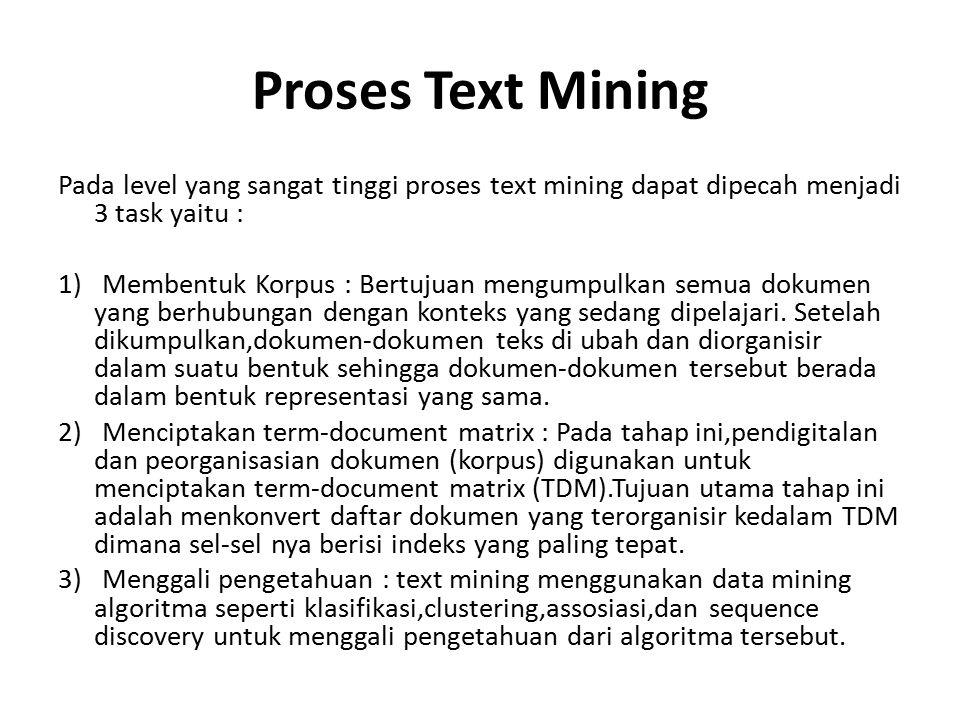 Proses Text Mining Pada level yang sangat tinggi proses text mining dapat dipecah menjadi 3 task yaitu : 1) Membentuk Korpus : Bertujuan mengumpulkan