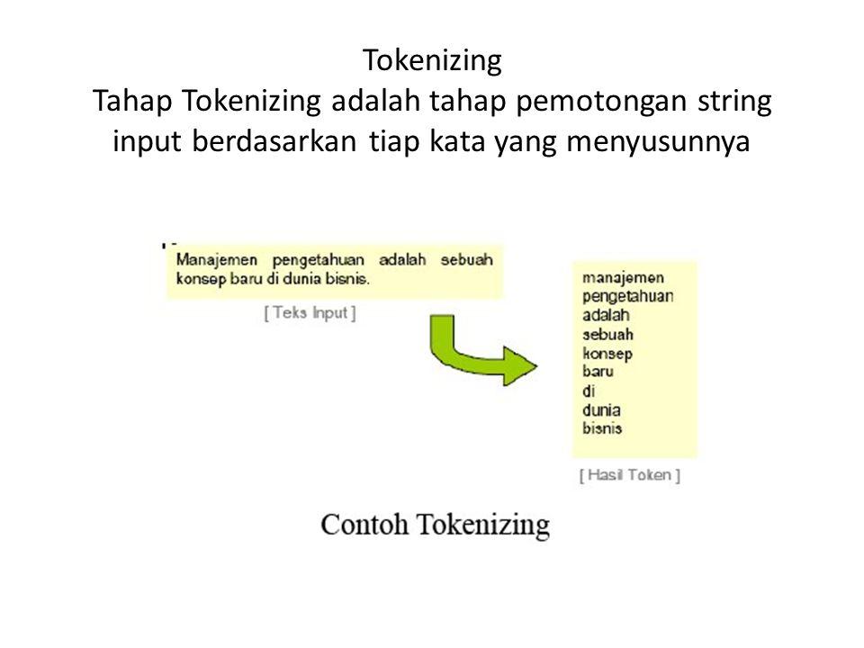 Tokenizing Tahap Tokenizing adalah tahap pemotongan string input berdasarkan tiap kata yang menyusunnya