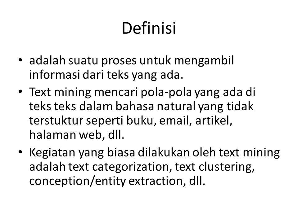 Definisi adalah suatu proses untuk mengambil informasi dari teks yang ada. Text mining mencari pola-pola yang ada di teks teks dalam bahasa natural ya