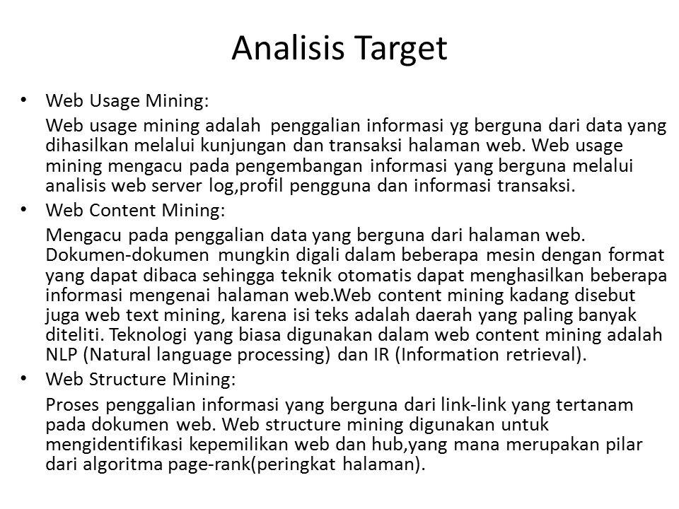 Analisis Target Web Usage Mining: Web usage mining adalah penggalian informasi yg berguna dari data yang dihasilkan melalui kunjungan dan transaksi ha