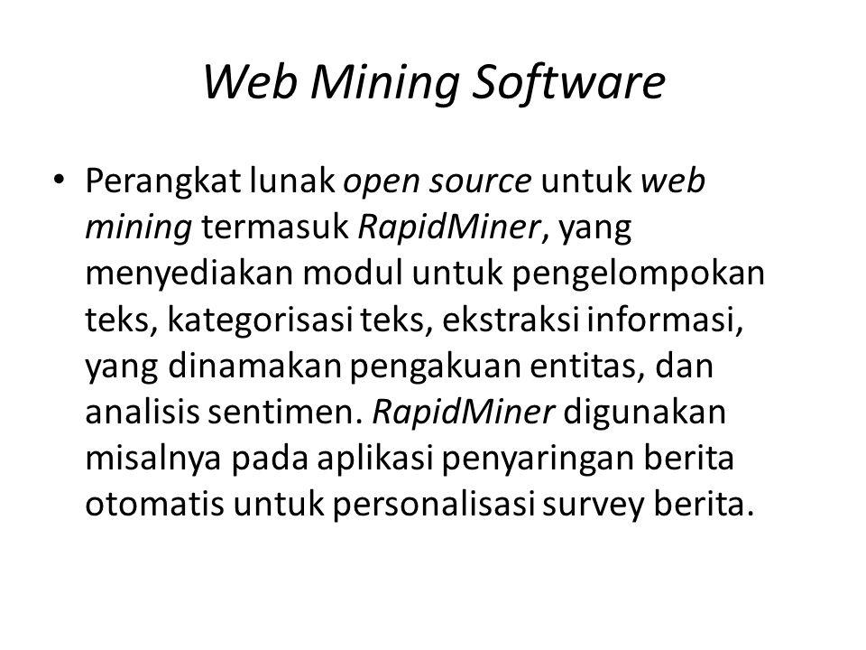 Web Mining Software Perangkat lunak open source untuk web mining termasuk RapidMiner, yang menyediakan modul untuk pengelompokan teks, kategorisasi teks, ekstraksi informasi, yang dinamakan pengakuan entitas, dan analisis sentimen.