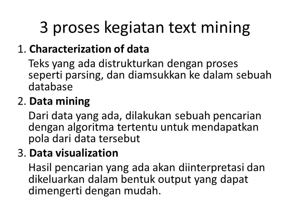3 proses kegiatan text mining 1. Characterization of data Teks yang ada distrukturkan dengan proses seperti parsing, dan diamsukkan ke dalam sebuah da