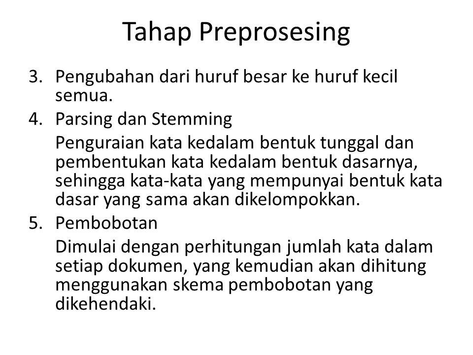 Tahap Preprosesing 3.Pengubahan dari huruf besar ke huruf kecil semua. 4.Parsing dan Stemming Penguraian kata kedalam bentuk tunggal dan pembentukan k