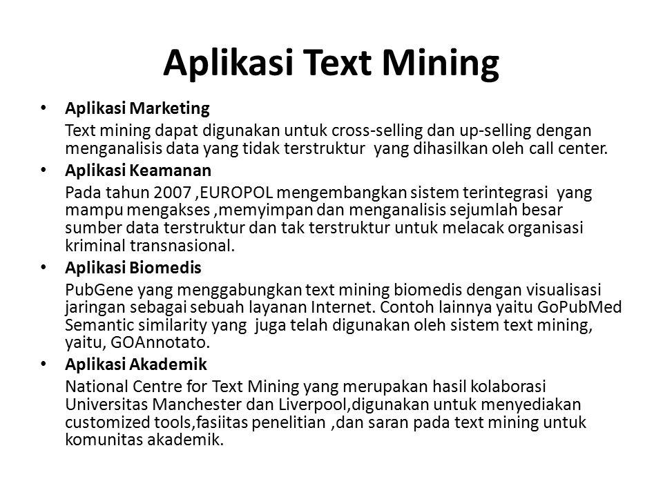 Aplikasi Text Mining Aplikasi Marketing Text mining dapat digunakan untuk cross-selling dan up-selling dengan menganalisis data yang tidak terstruktur yang dihasilkan oleh call center.